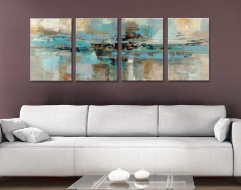 Morning Fjord 4-Piece Abstract Art for Sale