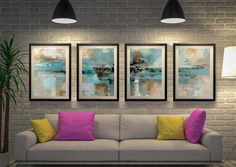 Buy Morning Fjord Quad Canvas Wall Art