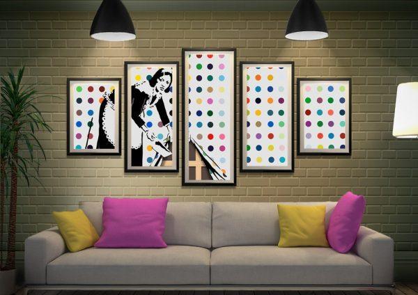 Framed 5-Panel Banksy Art Cheap Online