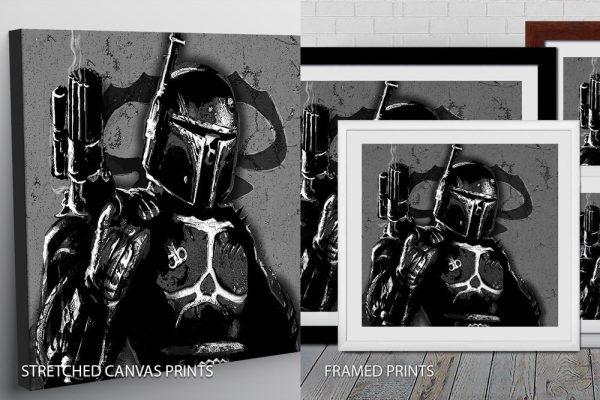 Black-and-White Boba Fett Quality Art
