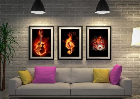 Fiery Music 3 Piece Canvas-Artwork-Triptych