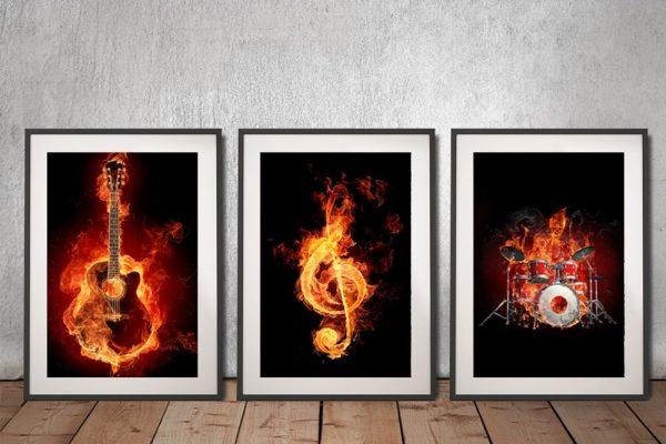 Fiery Music Framed Triptych