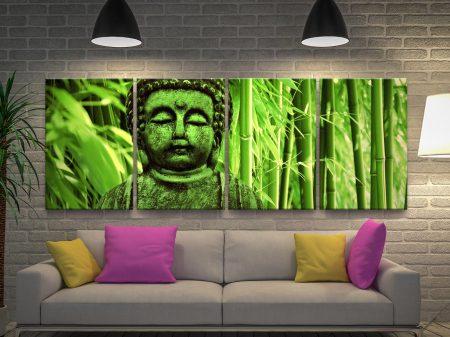 Green Buddha 4 Piece Canvas Artwork