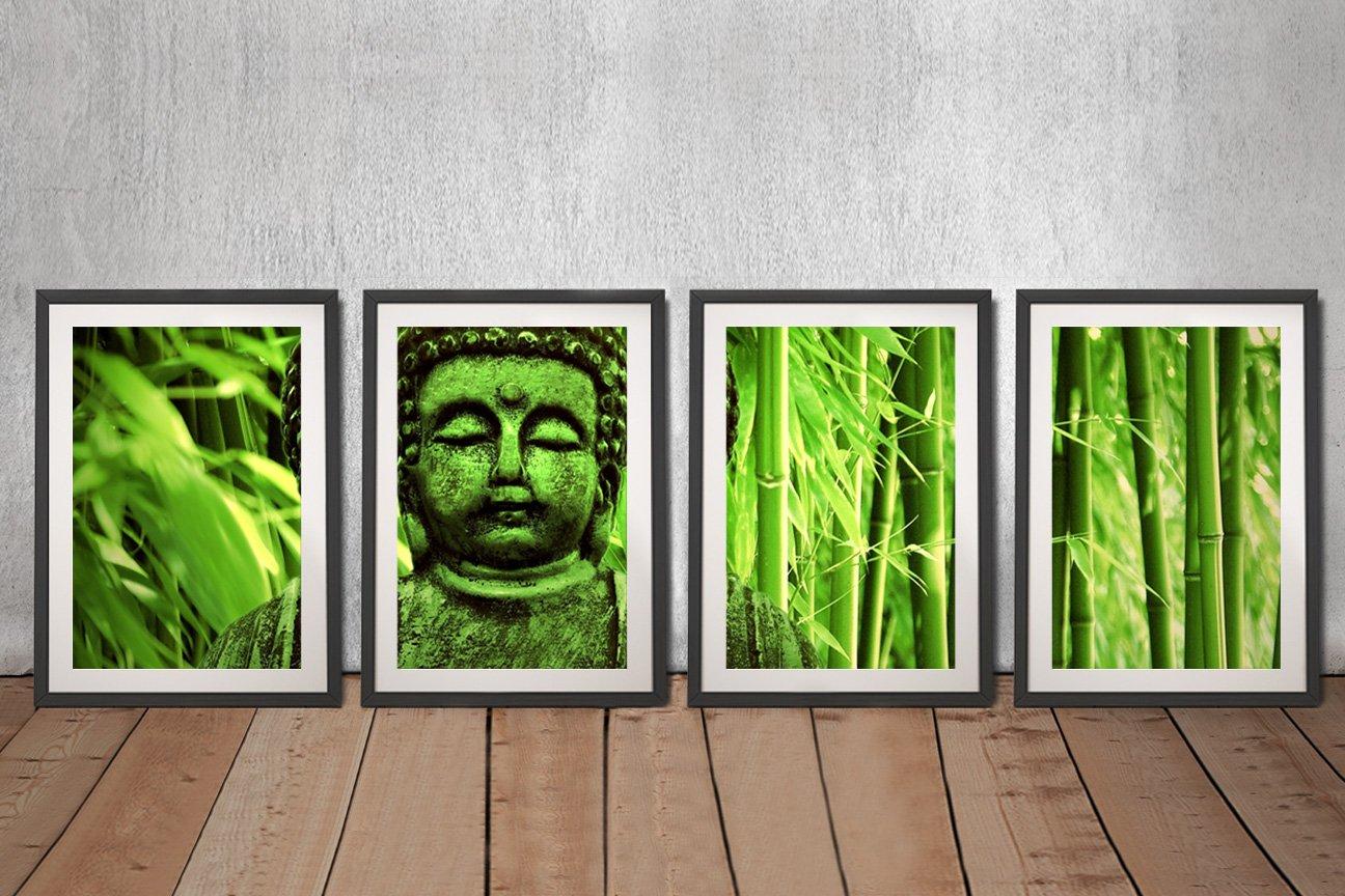Green Buddha 4 Piece Framed Art