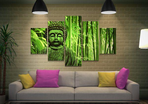 Green buddha 5 Piece Canvas Wall Art