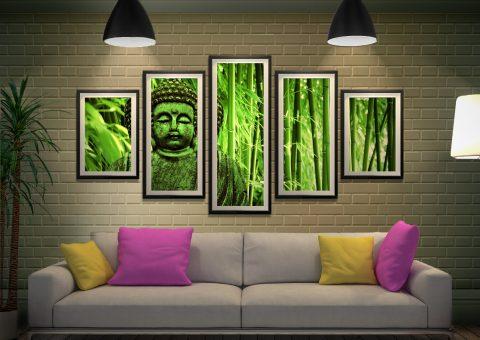 Green buddha 5 Piece Framed Print