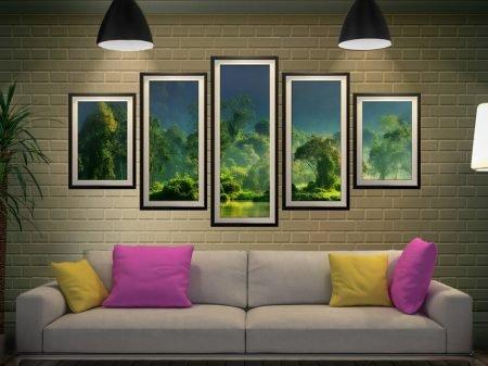 Buy a Framed Jungle Lifeline 5-Panel Set