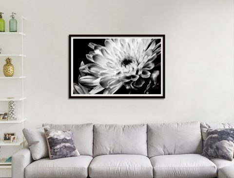 Monochrome Chrysanthemum Framed Artwork