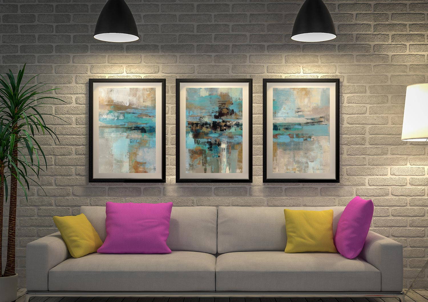 Morning Fjord Silvia Vassileva Triptych Abstract Prints On Canvas