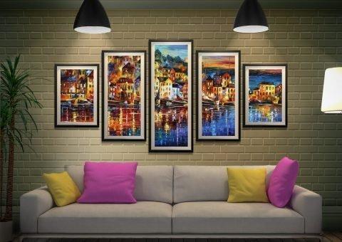Quiet Town 5-Panel Wall Art Home Decor AU