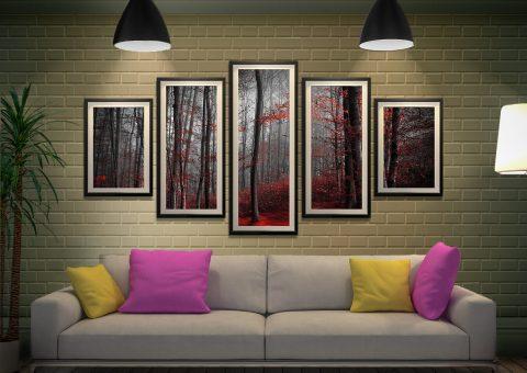 Framed Red Wood Split Diamond Wall Art