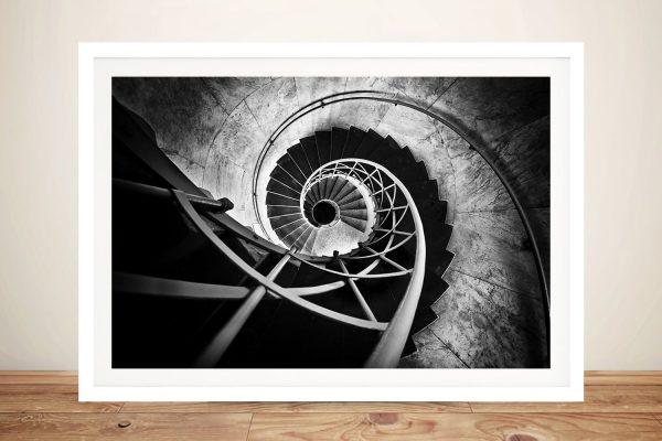 Framed Monochrome Spiral Staircase Print