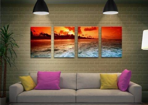 Sunset Churn Affordable 4-Panel Art Set