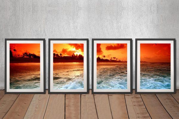 Sunset Churn Framed Quad Split Art Set