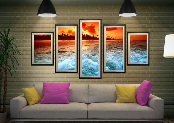 Framed 5-Piece Sunset Churn Wall Art Set