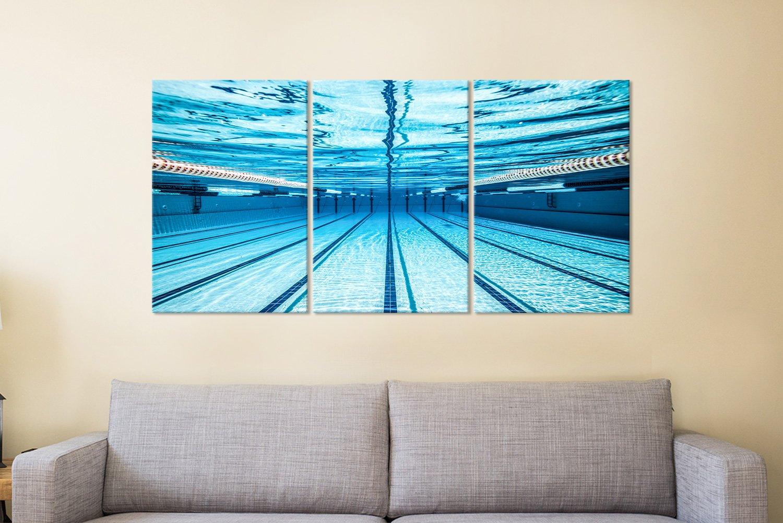 Swimming Pool 3 Panel Canvas Art