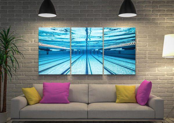 Swimming Pool Underwater Photo 3 Piece Canvas Prints