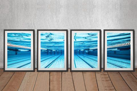 Swimming pool Underwater photo 4 Piece Framed Artwork