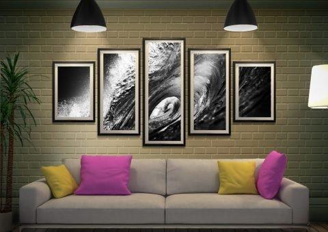 The Hook Framed Black & White Surf Split Panel