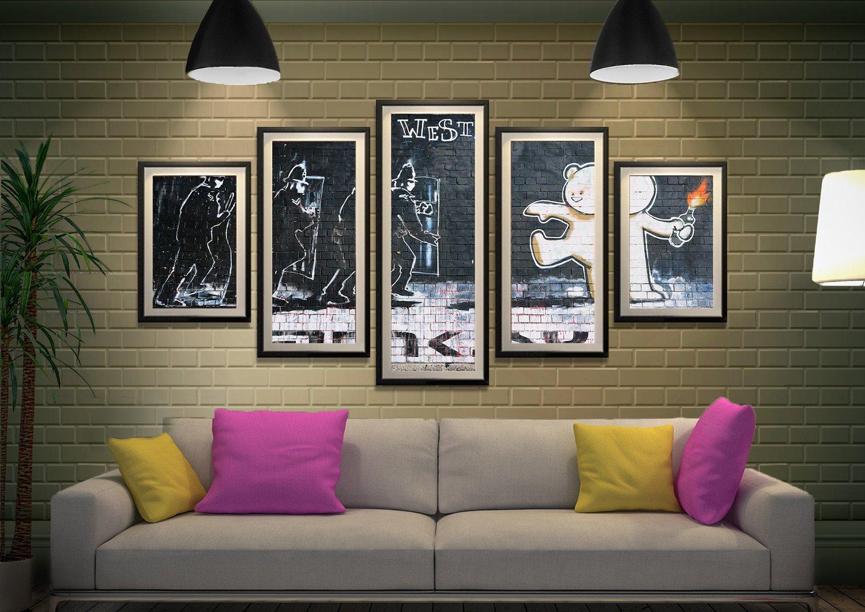 Framed Mild Mild West Banksy Split Panel Art