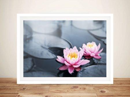 floating lotus flowers canvas art wall print
