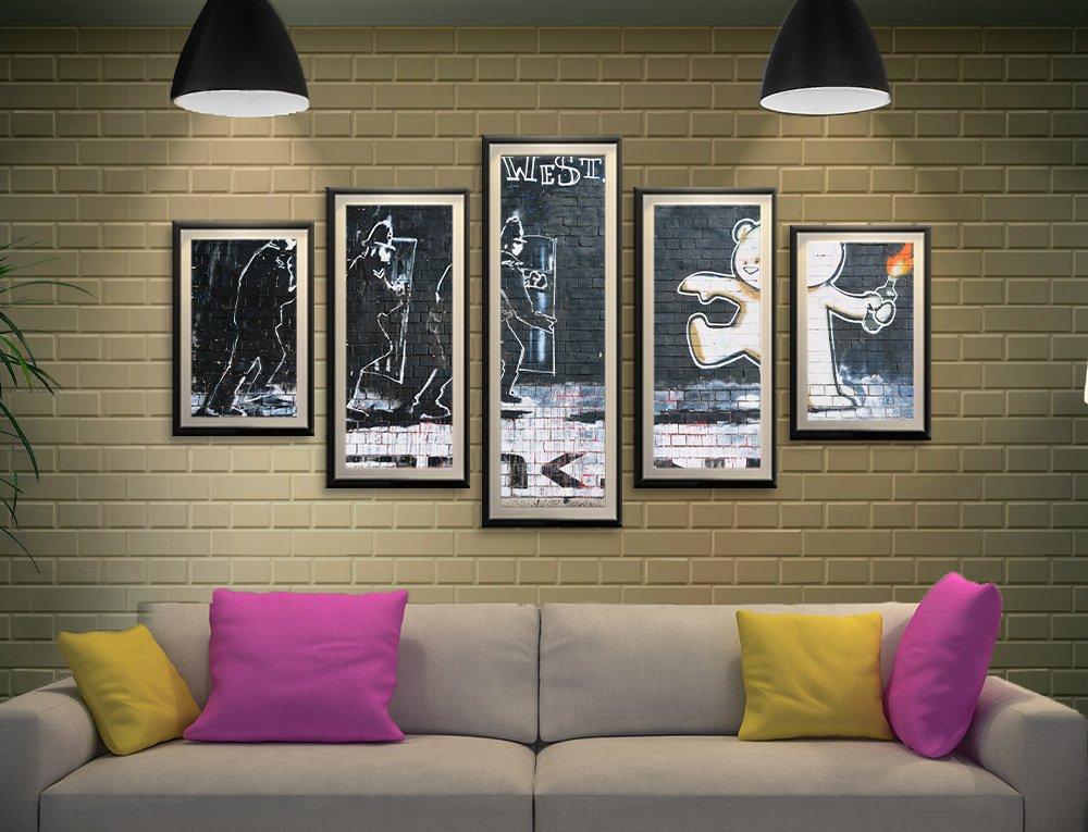 Mild Mild West Banksy 5-Panel Framed Art