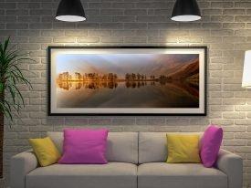 Framed Mountain Lake Panoramic Print