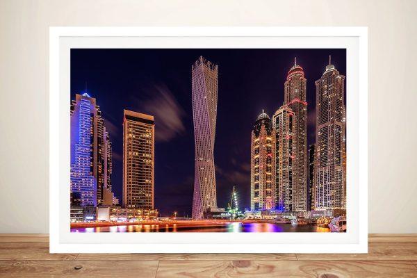 Dubai by Night Framed Canvas Art Cheap AU