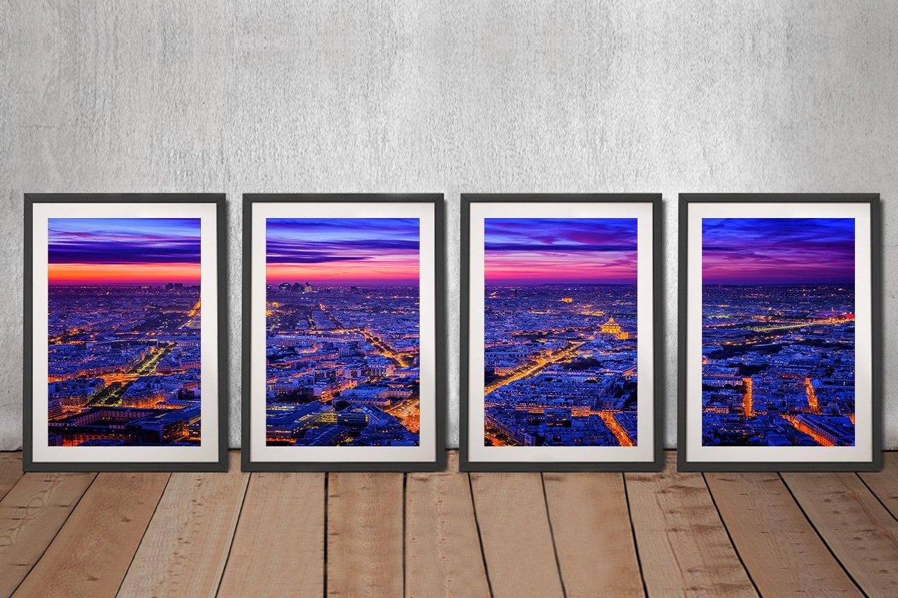 Framed 4-Panel Set of Paris at Dusk for Sale