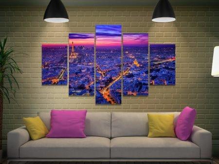 Paris at Dusk Split Diamond Cityscape Art