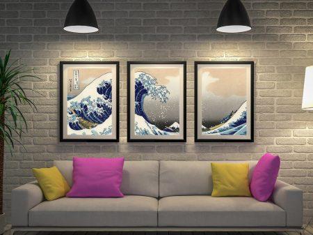 Hokusai-A-big wave off Kanagawa Framed Triptych