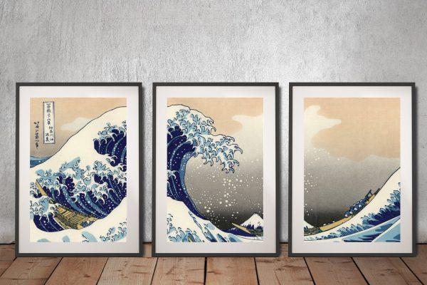 Hokusai-Great-wave-off-Kanagawa Triptych Art Set