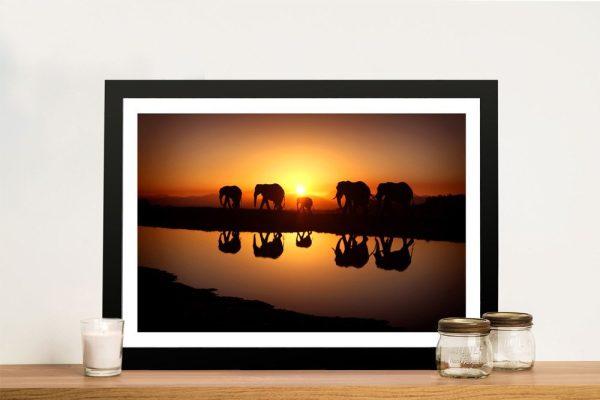 Sunset Elephants Framed Print on Canvas
