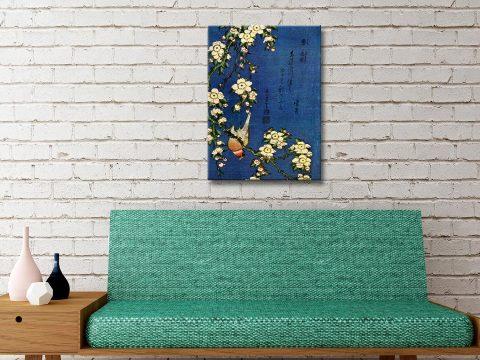 Hokusai Bullfinch and drooping Cherry Canvas Artwork Sydne