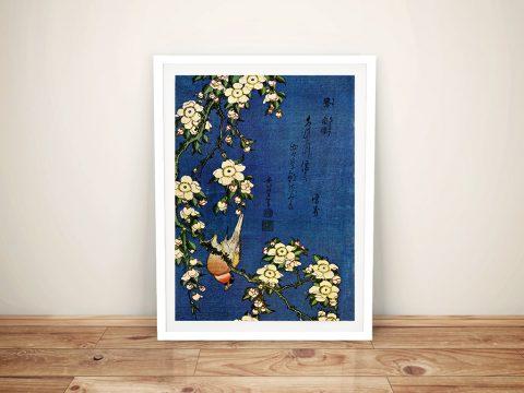 Hokusai Bullfinch and Drooping Cherry Wall Canvas Print Australia