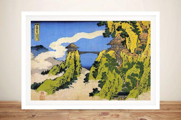 Framed Hokusai Temple Bridge Japanese Art