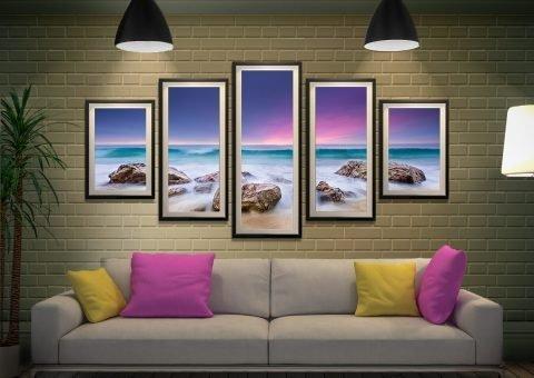 Purple Hued sunset 5 Panel Canvas Print