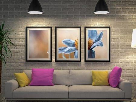 Blue Floral Framed Wall Art