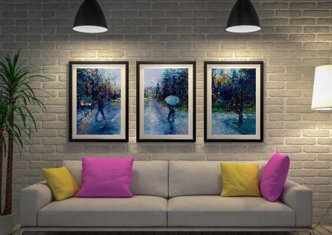 Slippery-Sidewalk and a seattle stroll Framed Triptych