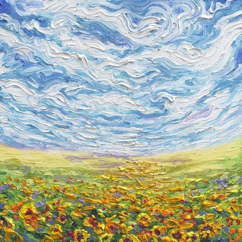 Sunflowers Flowers Finger Painting Iris Scott canvas Art Print