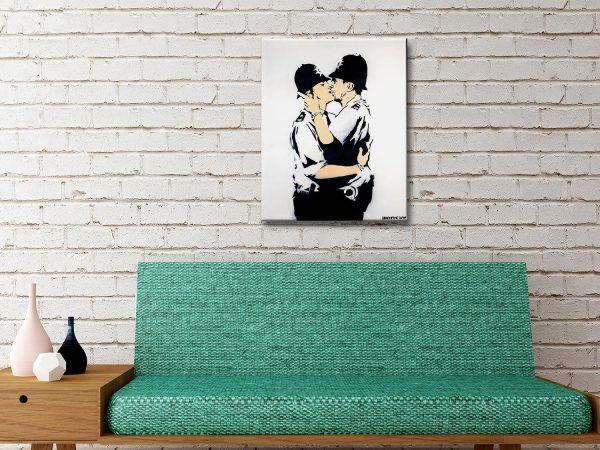 Kissing Policemen Banksy canvas wall art brisbane
