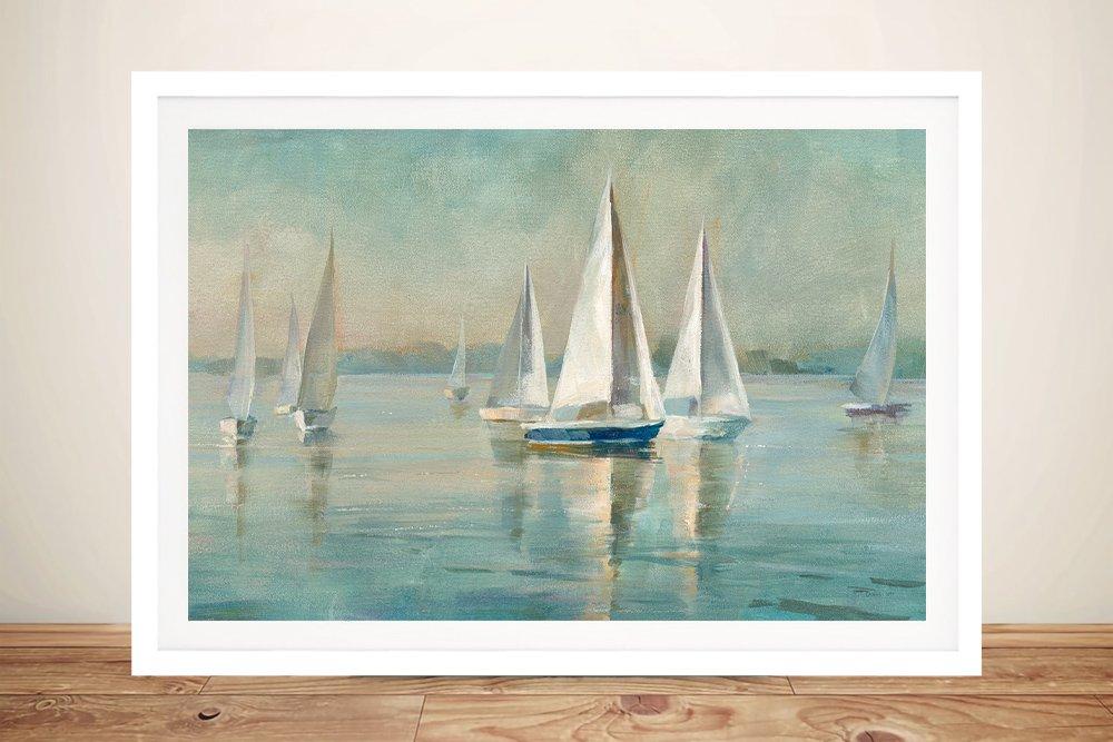 Sailboats at Sunrise Framed Seascape Print