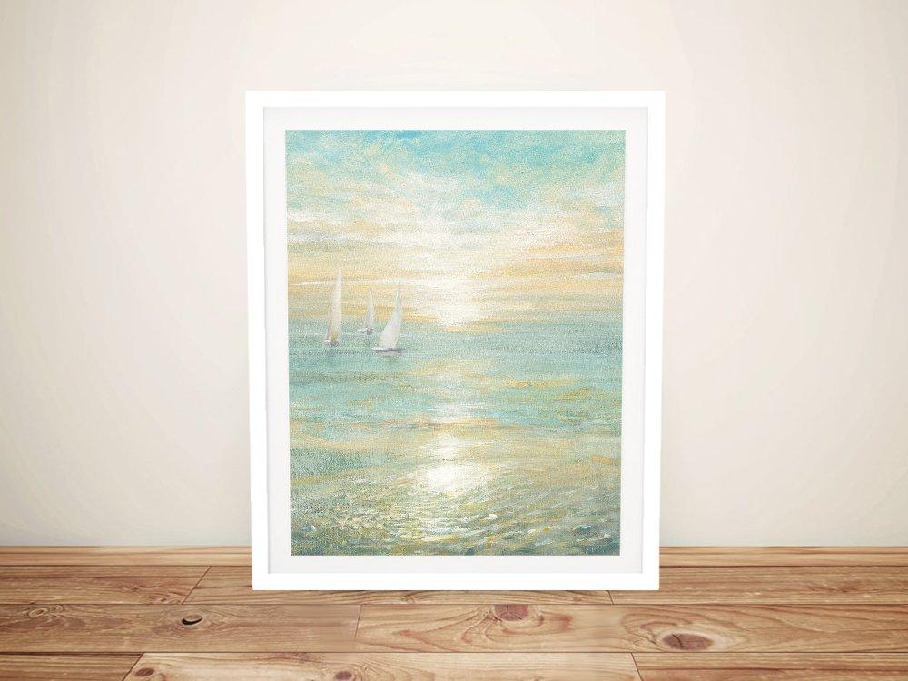 Sunrise Sailboats Framed Danhui Nai Art