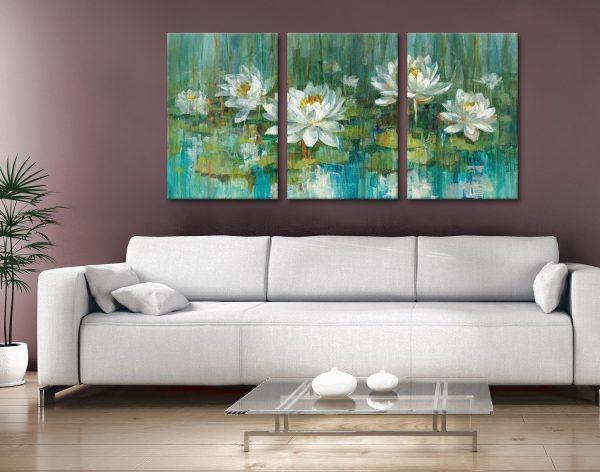 Water Lily Pond 3-Panel Danhui Nai Print