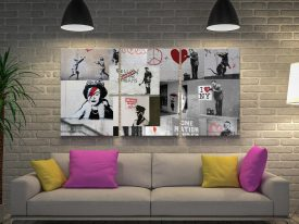 Banksy Red Collage Triptych Art