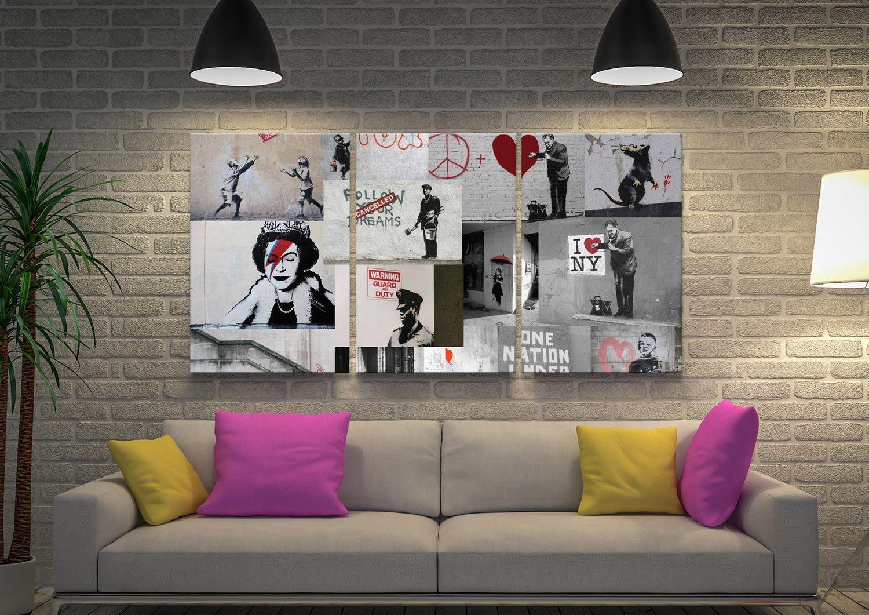 Banksy Red Collage 3 Piece Art Set