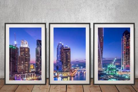 Dubai Marina Skyscrapers Triptych Art