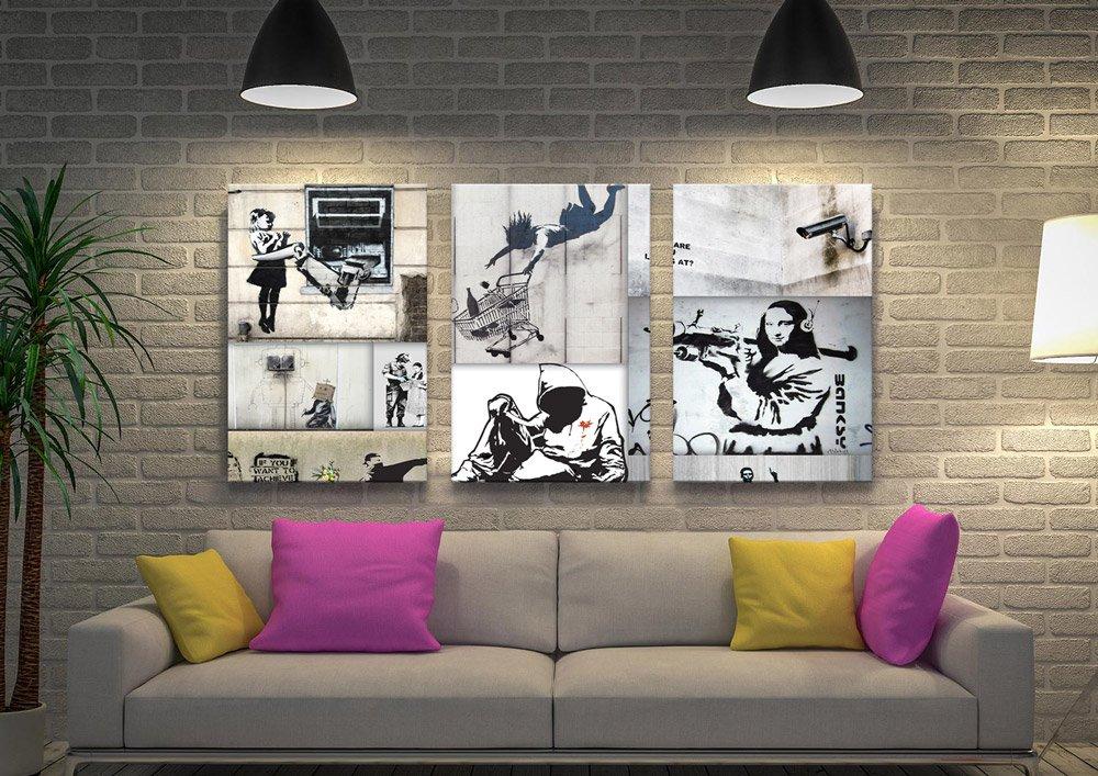 Affordable Banksy Collage Split Panel Art