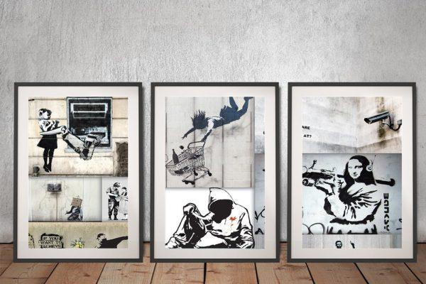 Mono Colour Framed Banksy 3-Piece Art