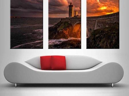 Buy a Sunset Lighthouse 3 Panel Print